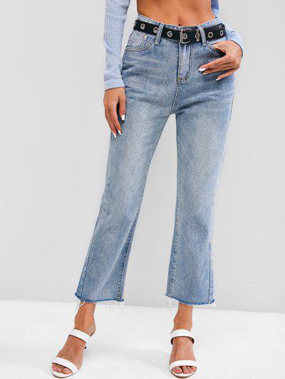 Light Wash Frayed Hem Stovepipe Jeans - Light Blue M