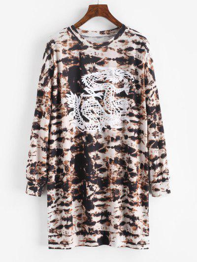 Tie Dye Dragon Print Drop Shoulder Shift Dress - Deep Coffee Xl