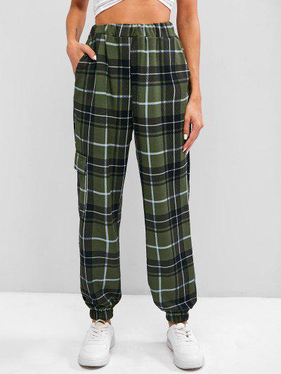 High Waist Plaid Jogger Pants - Green Xl
