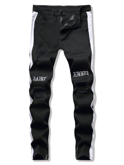 Letter Embroidery Striped Broken Hole Pencil Jeans - Black S