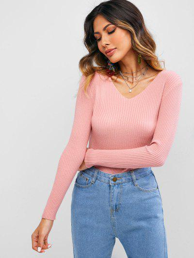 Solid Color V Neck Ribbed Knitwear - Light Pink