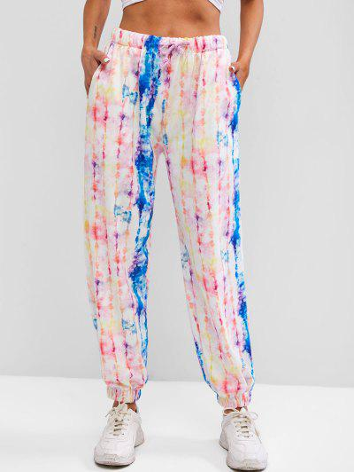 Drawstring Colorful Tie Dye Jogger Sweatpants - Multi S