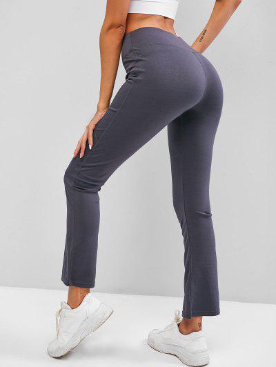 Wide Waistband Pocket Topstitch Yoga Pants - Dark Gray L