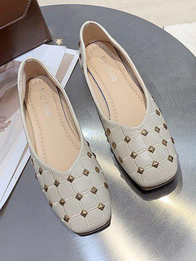 Rivet Check Pattern Flat Shoes - Beige Eu 39