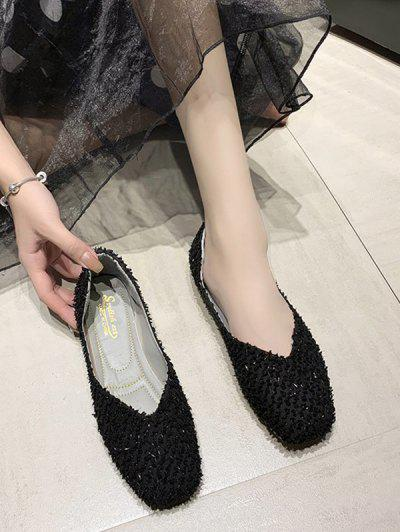 Square Toe Textured Slip On Flat Shoes - Black Eu 39