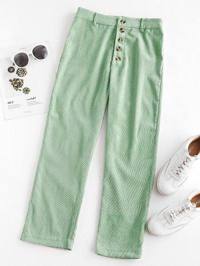 Pantalones De Pana Recto Con Botones - Verde Claro M