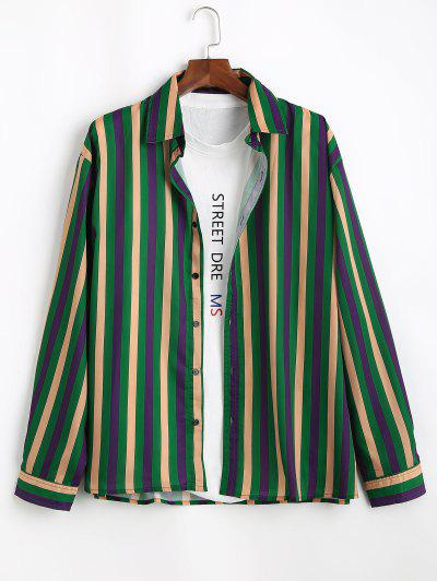 Colorblock Stripes Long Sleeve Shirt - Clover Green 2xl