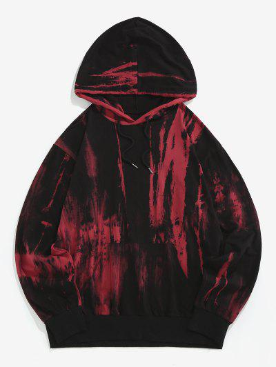 ZAFUL Tie Dye Print Drawstring Hoodie - Red 2xl