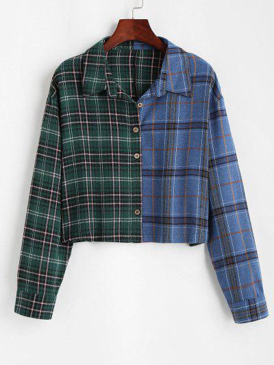 Button Down Contrast Plaid Shirt Jacket - Green M