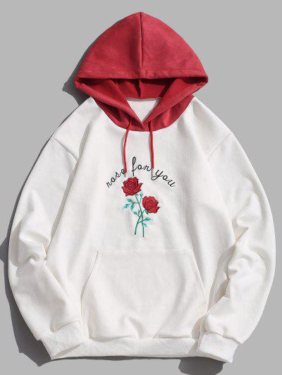 Colorblock Rose Flower Letter Embroidery Hoodie - White 2xl