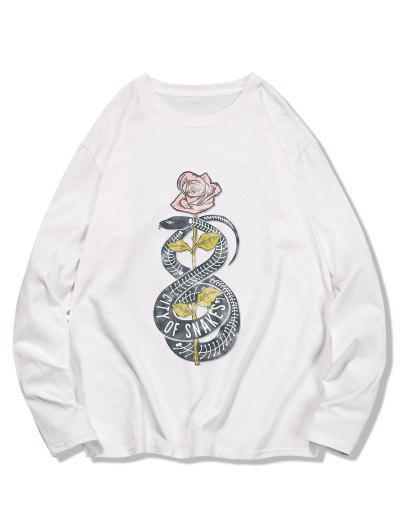 T-shirt Fleur Serpent Imprimés à Manches Longues - Blanc Lait M