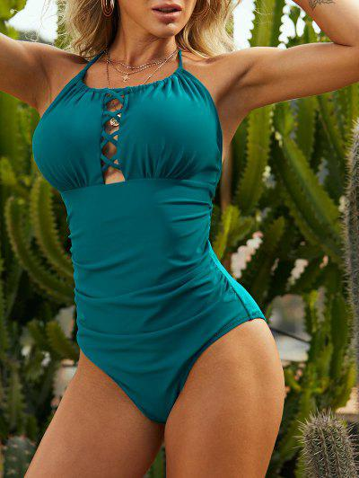 ZAFUL Lattice Ruched Halter One-piece Swimsuit - Greenish Blue L