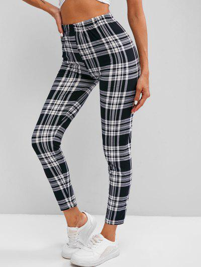 Plaid High Waisted Skinny Leggings - White