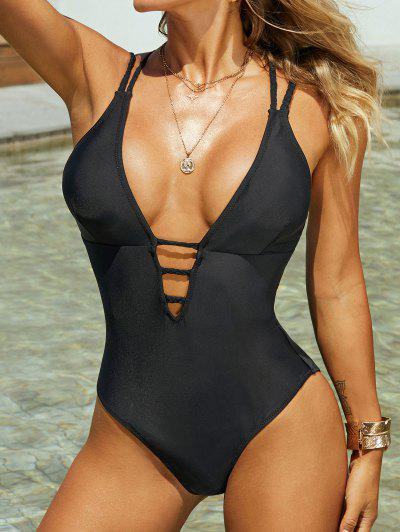 ZAFUL Braided Straps Backless Lattice One-piece Swimsuit - Black M