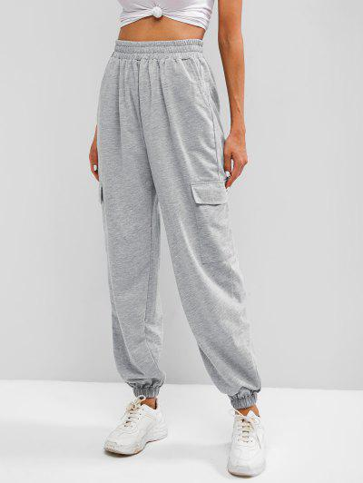 Flap Pocket French Terry Cargo Jogger Pants - Light Gray Xl