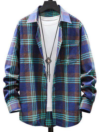 Plaid Pattern Pocket Patch Long Sleeve Shirt - Medium Sea Green 2xl