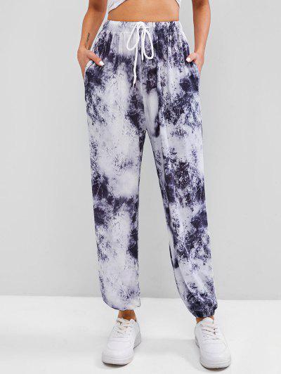 ZAFUL Pantalones Jogger De Tie Dye Con Bolsillo - Negro L