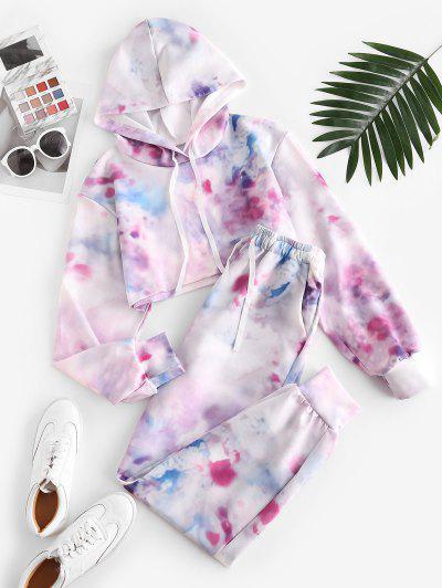 Sweat Tie Dye Cropped Two Piece Pants Set - Light Pink M