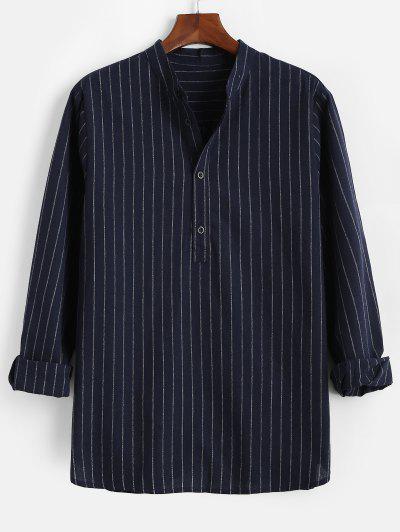 Stripes Pattern Half Button Long Sleeve Shirt - Deep Blue M