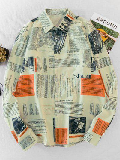 Newspaper Print Long Sleeve Pocket Shirt - Multi-a M