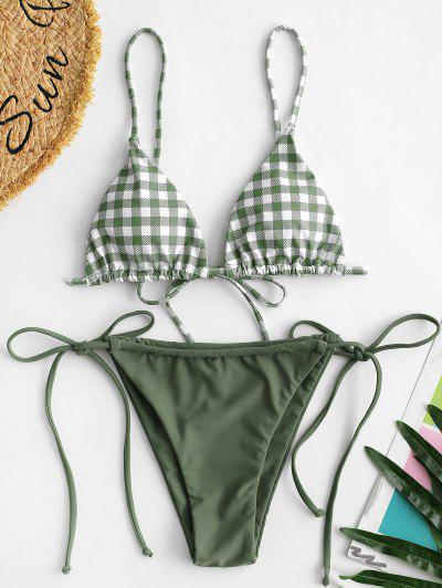 ZAFUL Plaid Tie Tanga String Bikini Swimwear - Light Green L
