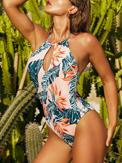 ZAFUL Tropical Print Halter Backless Keyhole One-piece Swimsuit - Light Orange L