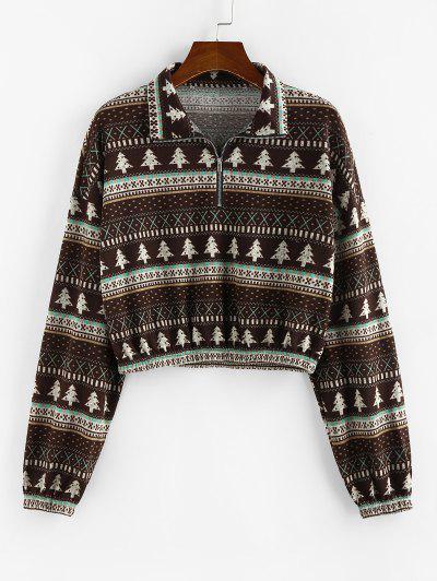 ZAFUL Half Zip Drop Shoulder Tree Print Sweatshirt - Multi-a S