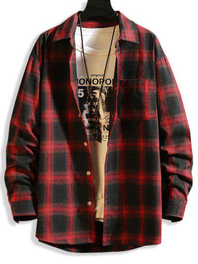 Long Sleeve Plaid Print Curved Hem Shirt - Red Xs