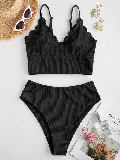 ZAFUL Ribbed Scalloped Surplice Tankini Swimwear - Black S