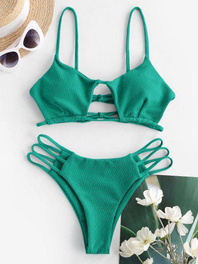 ZAFUL Textured Cutout Ladder Cut String Bikini Swimwear - Deep Green M