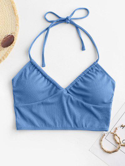 ZAFUL Haut De Bikini Court Côtelé à Col Halter - Bleu S