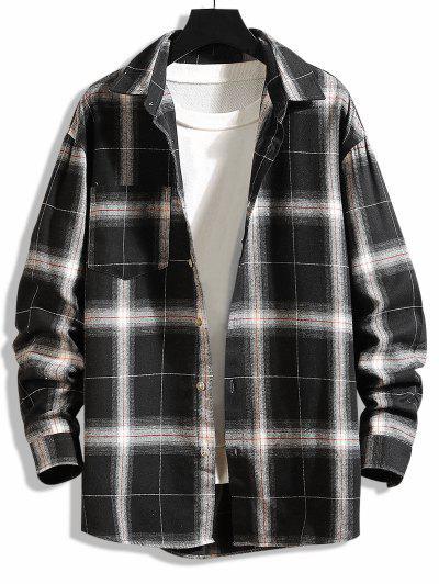 Curved Hem Plaid Print Pocket Shirt - Black Xs