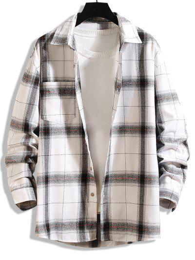 Curved Hem Plaid Print Pocket Shirt - White Xl