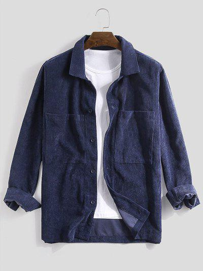 Camisa De Veludo De Algodão De Manga Comprida - Azul Escuro S