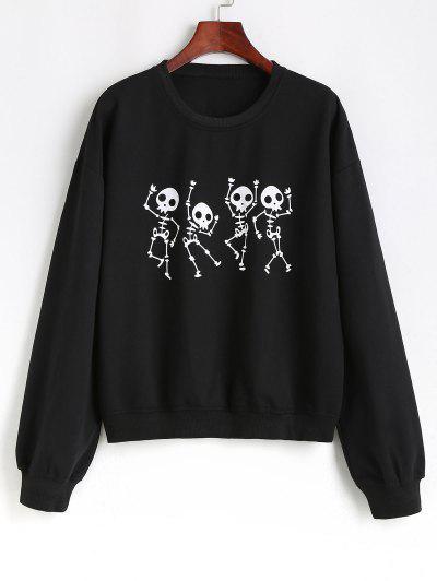 Drop Shoulder Skull Holloween Sweatshirt - Black Xl