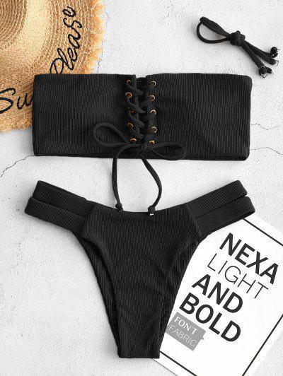 ZAFUL Ribbed Bandeau Lace Up Bikini Swimsuit - Black S