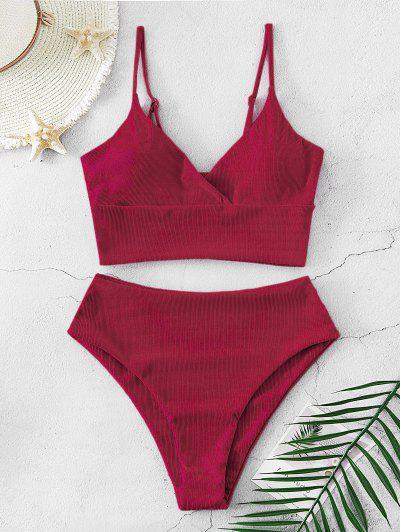 ZAFUL Ribbed High Cut Surplice Tankini Swimsuit - Deep Red Xl