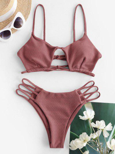 ZAFUL Textured Cutout Ladder Cut String Bikini Swimwear - Light Pink S