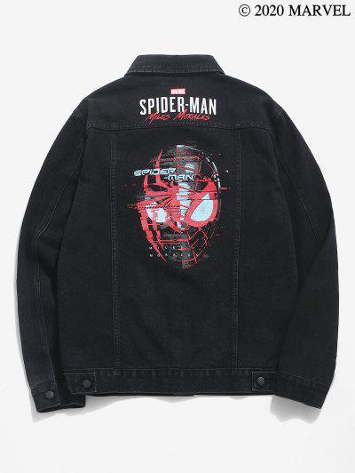 Marvel Spider-Man Pattern Button Up Denim Jacket - Black M