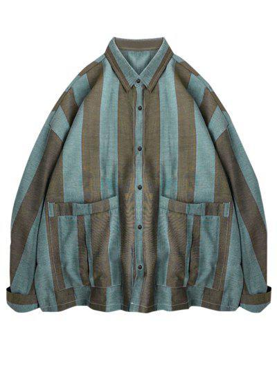 Striped Print Double Pockets Shirt - Light Blue M