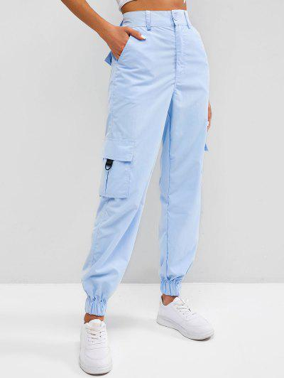 Flap Pocket Beam Feet O-ring Cargo Pants - Sea Blue M
