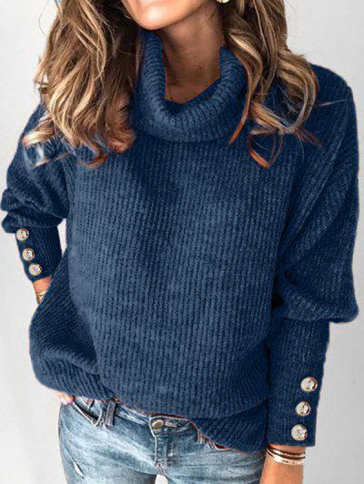 Plus Size Drop Shoulder Turtleneck Sweater - Blue 1x