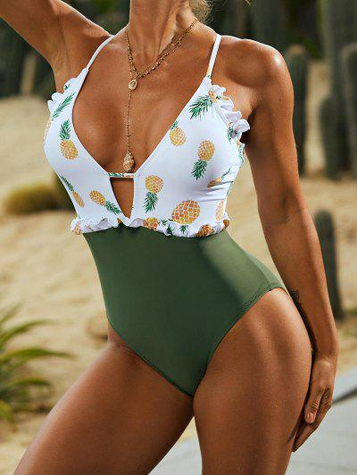 ZAFUL Lace-up Frilled Pineapple One-piece Swimsuit - Deep Green S
