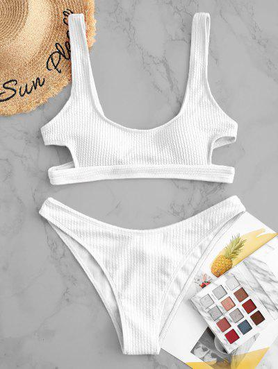 ZAFUL Textured Cutout High Cut Bikini Swimsuit - White S