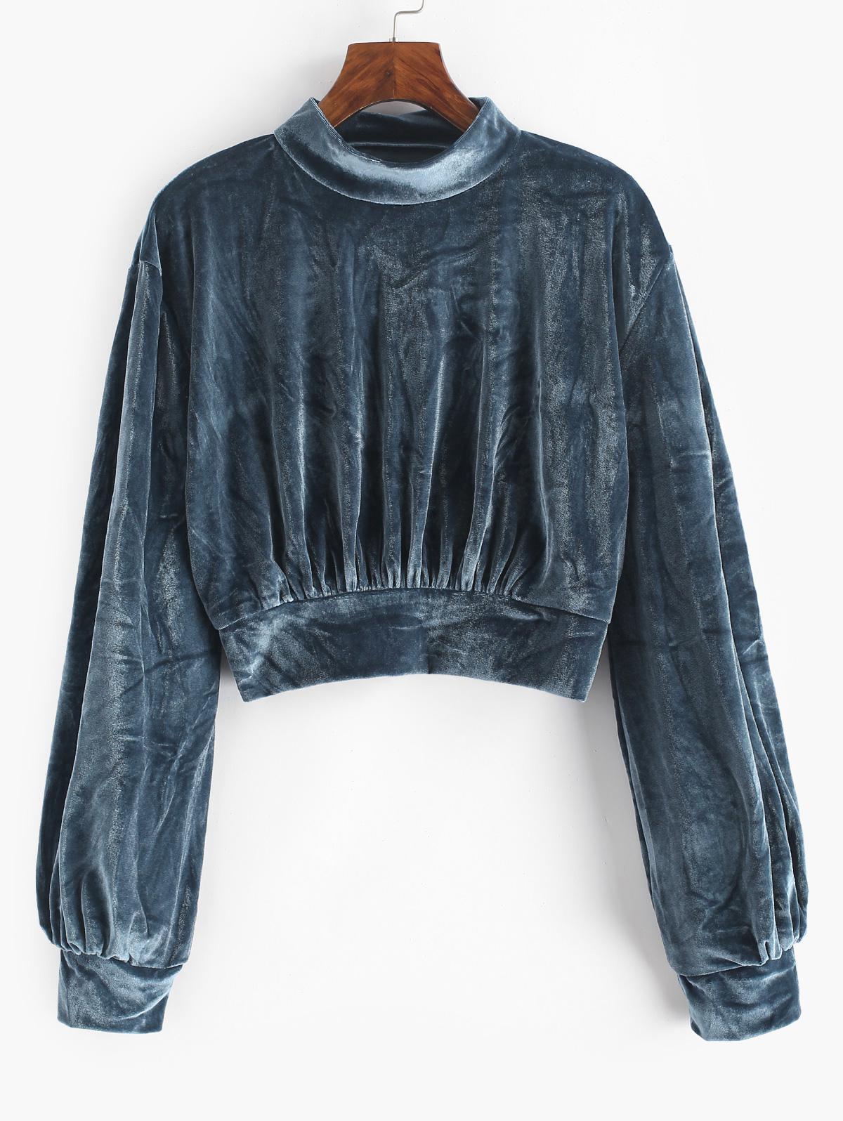 Elastic Hem Velvet Mock Neck Sweatshirt
