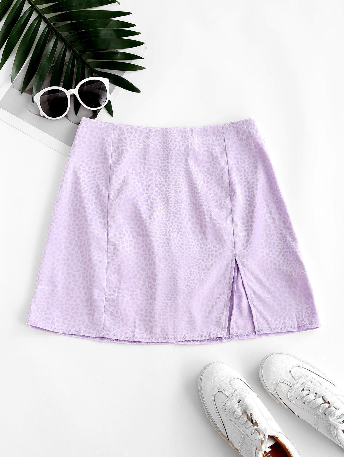 Slit Leopard Jacquard Mini Skirt