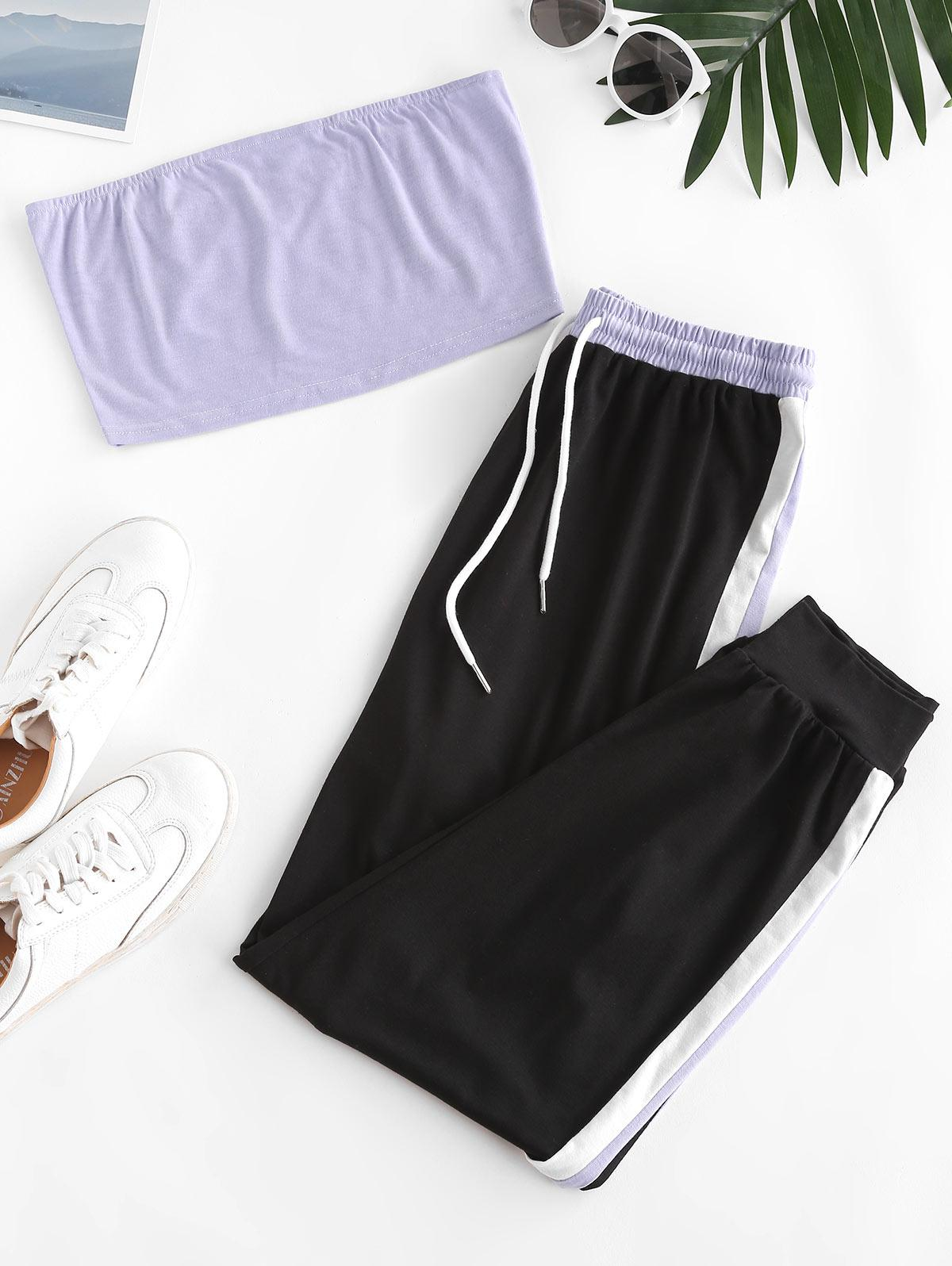 Strapless Contrast Drawstring Two Piece Jogger Pants Set