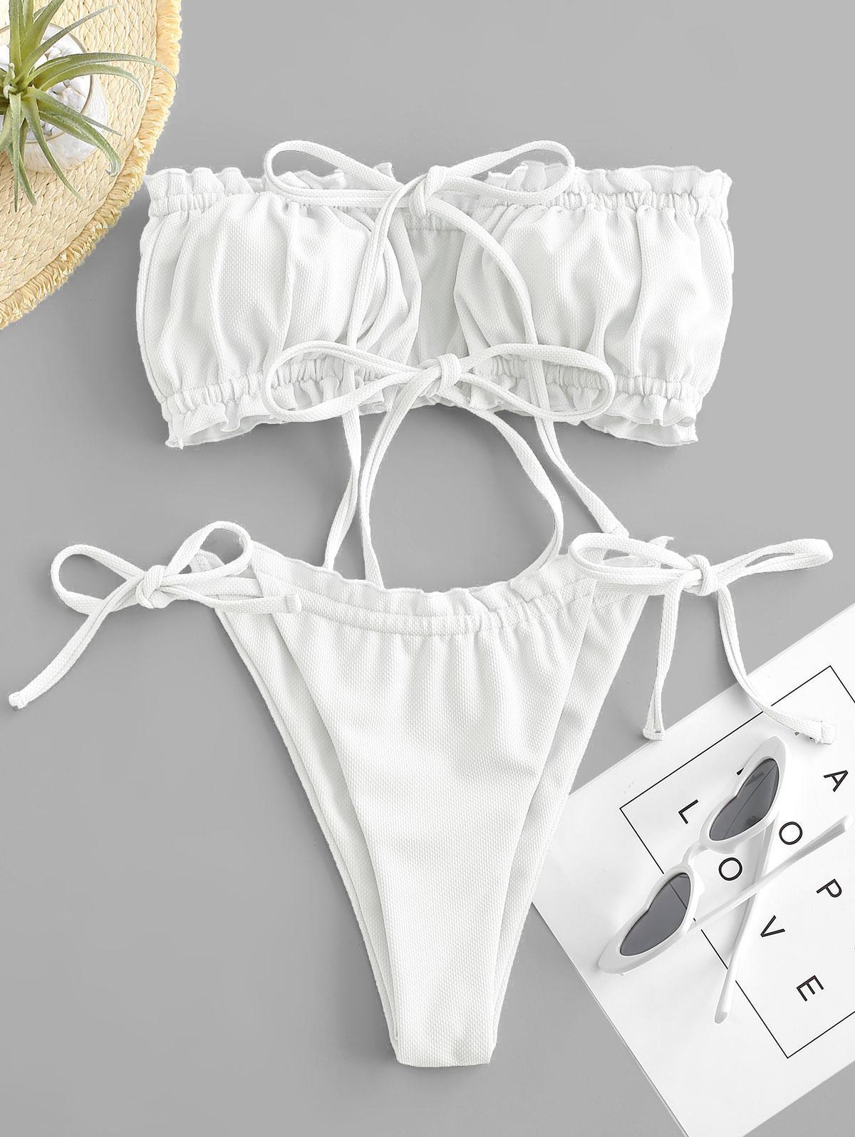 ZAFUL Maillot de Bain Bikini Bandeau Noué Texturé à Volants M - Zaful FR - Modalova
