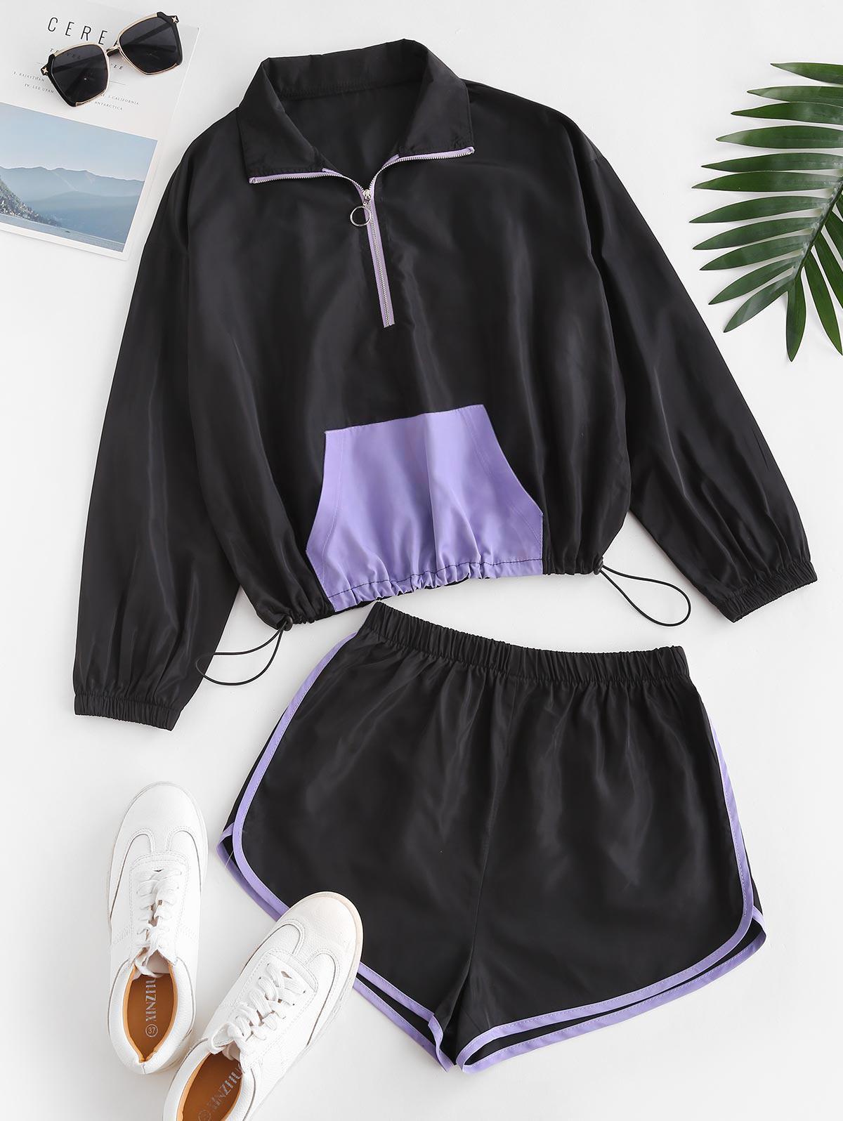 Pocket Bicolor Windbreaker Two Piece Shorts Set
