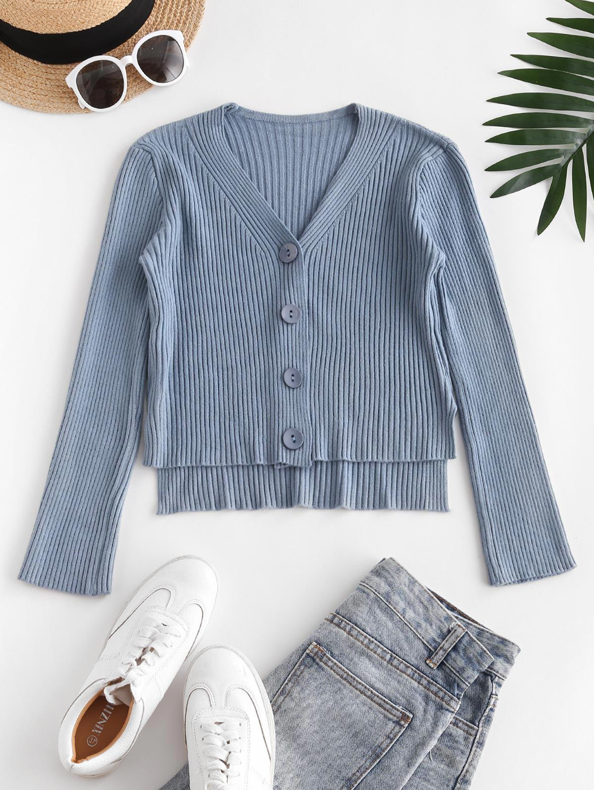 Wide Ribbed Stepped Hem Cardigan
